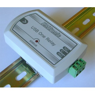 USB Relay Controller - One Channel with clips for DIN mount rail
