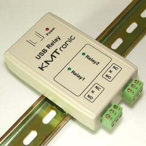USB Relay Controller - Two Channels with clips for DIN mount rail