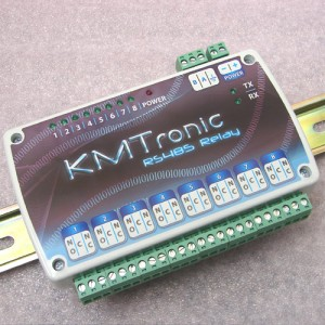 RS485 Relay Controller - Eight Channel with clips for DIN mount rail