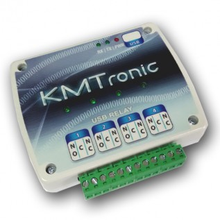 USB Relay Controller - Four Channel - BOX with Clips for DIN Mount Rail